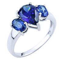 Серебряное кольцо Луизина с синтезированным танзанитом 000055849