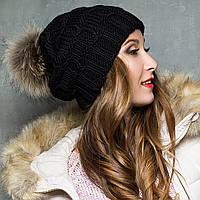 Черная вязаная шапка зимняя с натуральным помпоном, фото 1