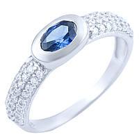 Серебряное кольцо Алсу с синтезированным танзанитом и фианитами 000056115
