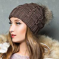 Вязаная шапка женская с натуральным помпоном
