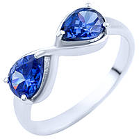Серебряное кольцо Бесконечность с синтезированным танзанитом 000056127