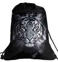 Рюкзак сумка для сменной обуви на шнурках черный с карманом и фото Тигра Vombato 1-7835