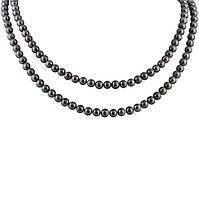 Ожерелье из черного жемчуга Эстель с серебряным замком, р.100 000058332