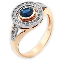 Золотое кольцо с бриллиантами и сапфиром Женская тайна 000000469
