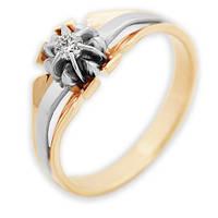 Золотое кольцо с бриллиантом Чайная роза 17 000011152