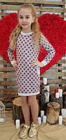 Детское платье серое в красный горох Кокетка трикотаж  116, 122, 128, 134, 140, 146см