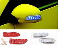 Повторители поворотов, накладные, гибкие, крепятся на заднюю часть боковых зеркал авто, синий / желтый (2 шт.)