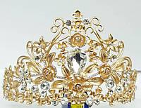 233 Золотые короны высокие, тиары и диадемы. Эксклюзивная свадебная бижутерия оптом.