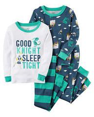 """Набор с двух пижамок 4 в 1 """"Принц"""" Carter's для мальчика зеленый, белый 4Т/98-105 см"""