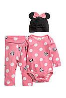 "Набор с трьох частей ""minnie mouse"" H&M для девочки розовый 1-2 мес/56 см"