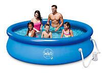 Надувной бассейн Swig pools 3,05 х 0,76 с фильтром 1.2 м3 в час (12 В), фото 1