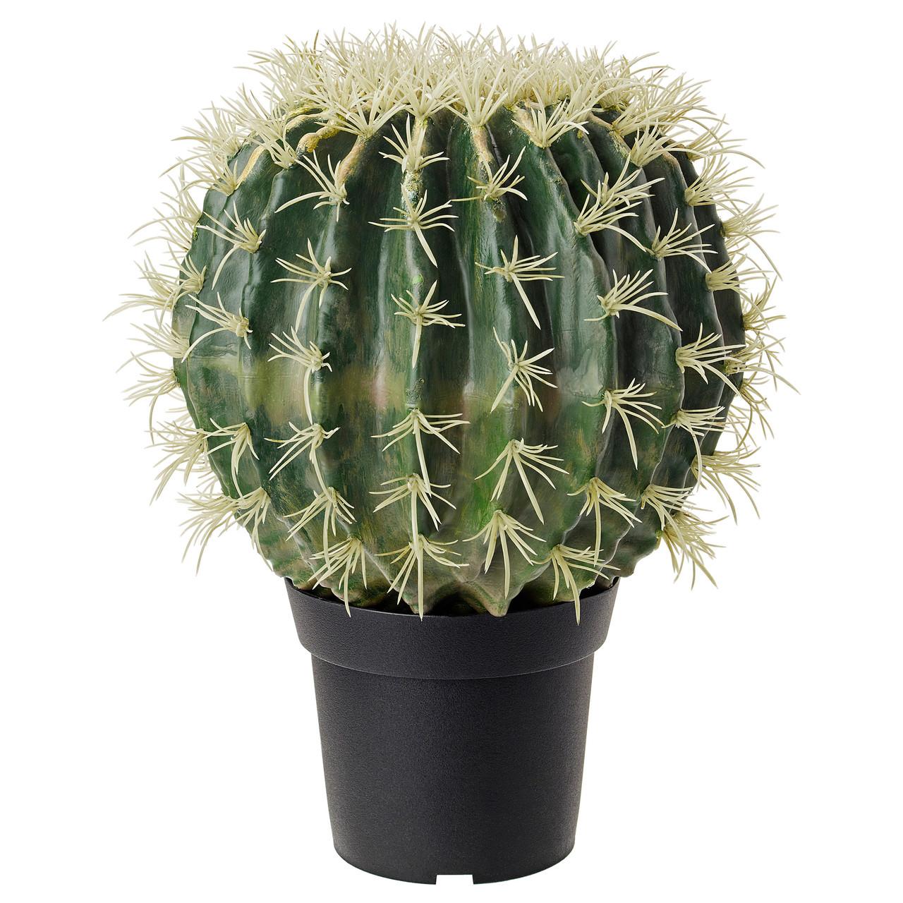 """ИКЕА """"ФЕЙКА"""" Искусственное растение в горшке, кактус, в форме шара, 15см."""