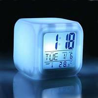 Светодиодные часы, c термометром будильник ночник, часы хамелеон, светящиеся, 508