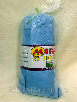 """Простынь на резинке """"Miras"""" голубая 180х200, фото 2"""