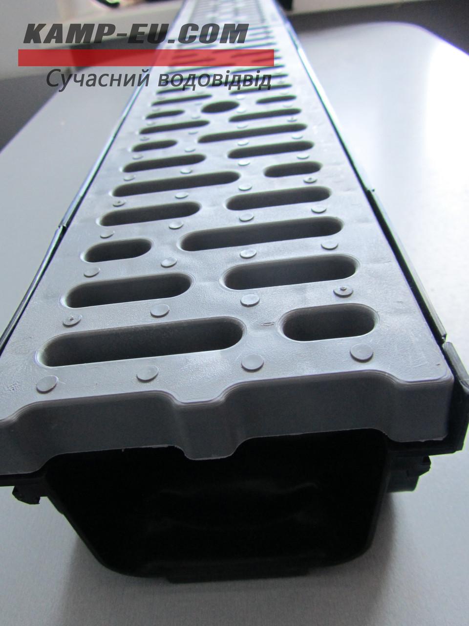 Комплект поверхностного водоотвода с серой ПП решеткой
