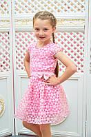 Детское платье розовое Розалина 110, 116см трикотажная подкладка органза поясок с бантиком