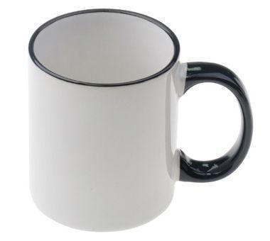 Черная. Белая чашка с цветной ручкой и внутренней частью Rim Handle Mug - BACK. 11OZ