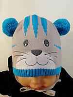 Вязаная шапка (Grans, Польша)  с помпонами мальчику, осень\зима