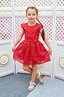 Детское платье красное Розалина 110, 128см трикотажная подкладка органза поясок с бантиком