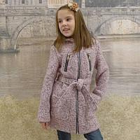 Кашемировое пальто  Алина букле пудра, размеры на рост 128-156