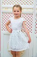 Детское платье белое Розалина 128см трикотажная подкладка органза поясок с бантиком