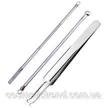Инструменты для чистки лица косметологические профессиональные (набор 3 предмета+футляр), фото 2