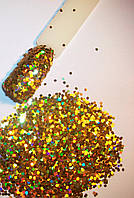 Шестигранники - пайетки для декора ногтей -голограмма золото.