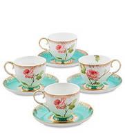 """Чайный набор на 4 персоны """"Роза"""" (Milano Rose Pavone) из костяного фарфора JK- 66"""