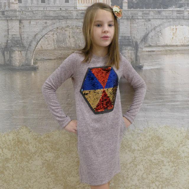 Платье -туника  пудра размеры на рост 128 - 156