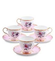 """Чайный набор на 4 персоны """"Цветок Неаполя"""" (Fiore Napoli Pavone) из костяного фарфора JK-122"""