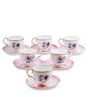 """Чайный набор на 6 персон """"Цветок Неаполя"""" (Fiore Napoli Pavone) из костяного фарфора 12 пр-в JK-123"""