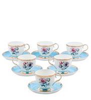 """Чайный набор на 6 персон """"Цветок Неаполя"""" (Fiore Napoli Pavone) из костяного фарфора 12 пр-в JK-130"""