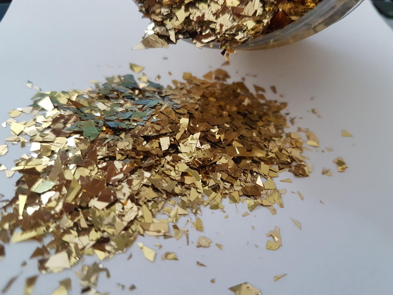НОВИНКА:Декор эффект рваной фольги Glint Глинт, золото 1 г
