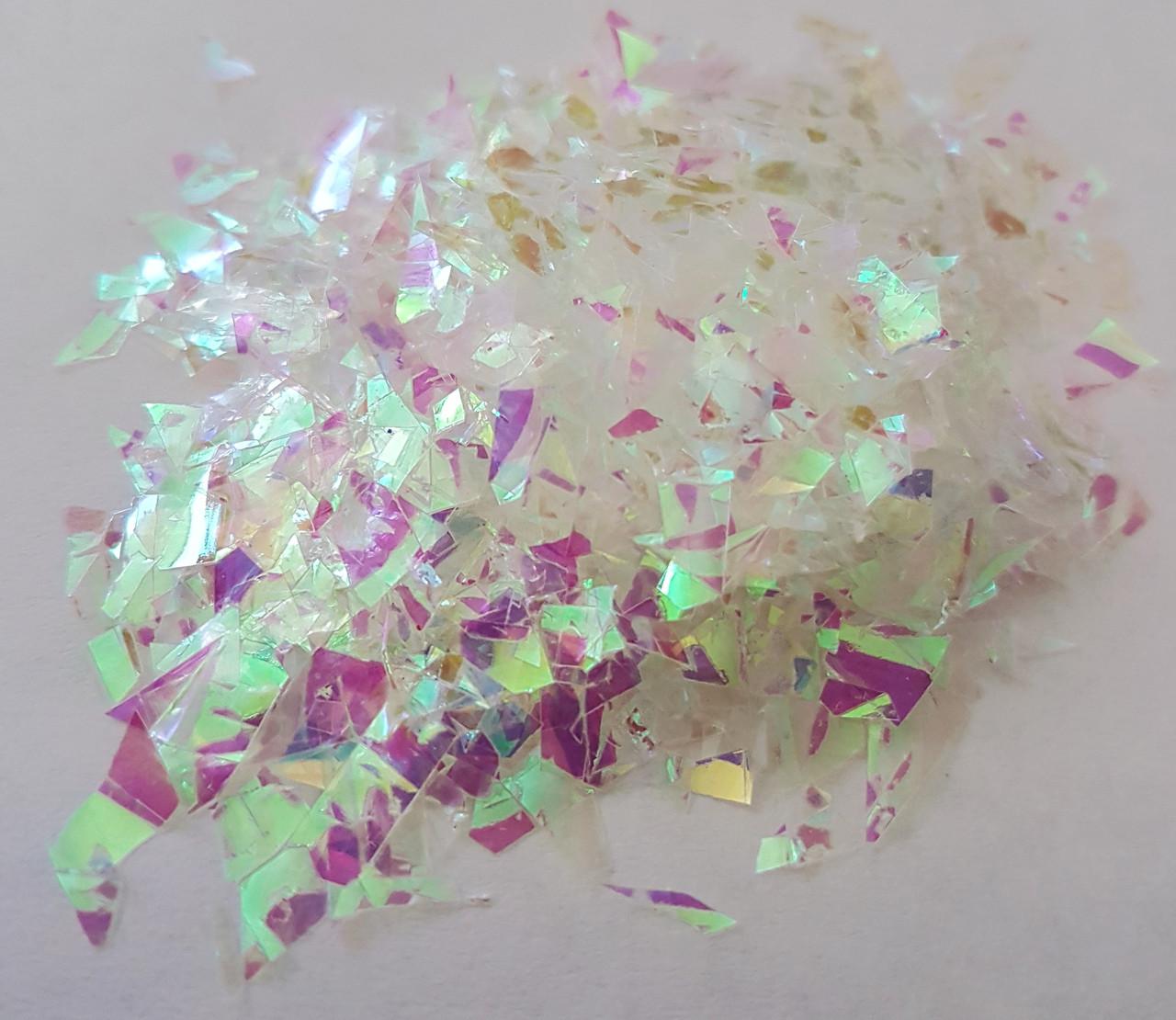 НОВИНКА:Декор эффект рваной фольги Glint Глинт, цвет жемчужный перелив