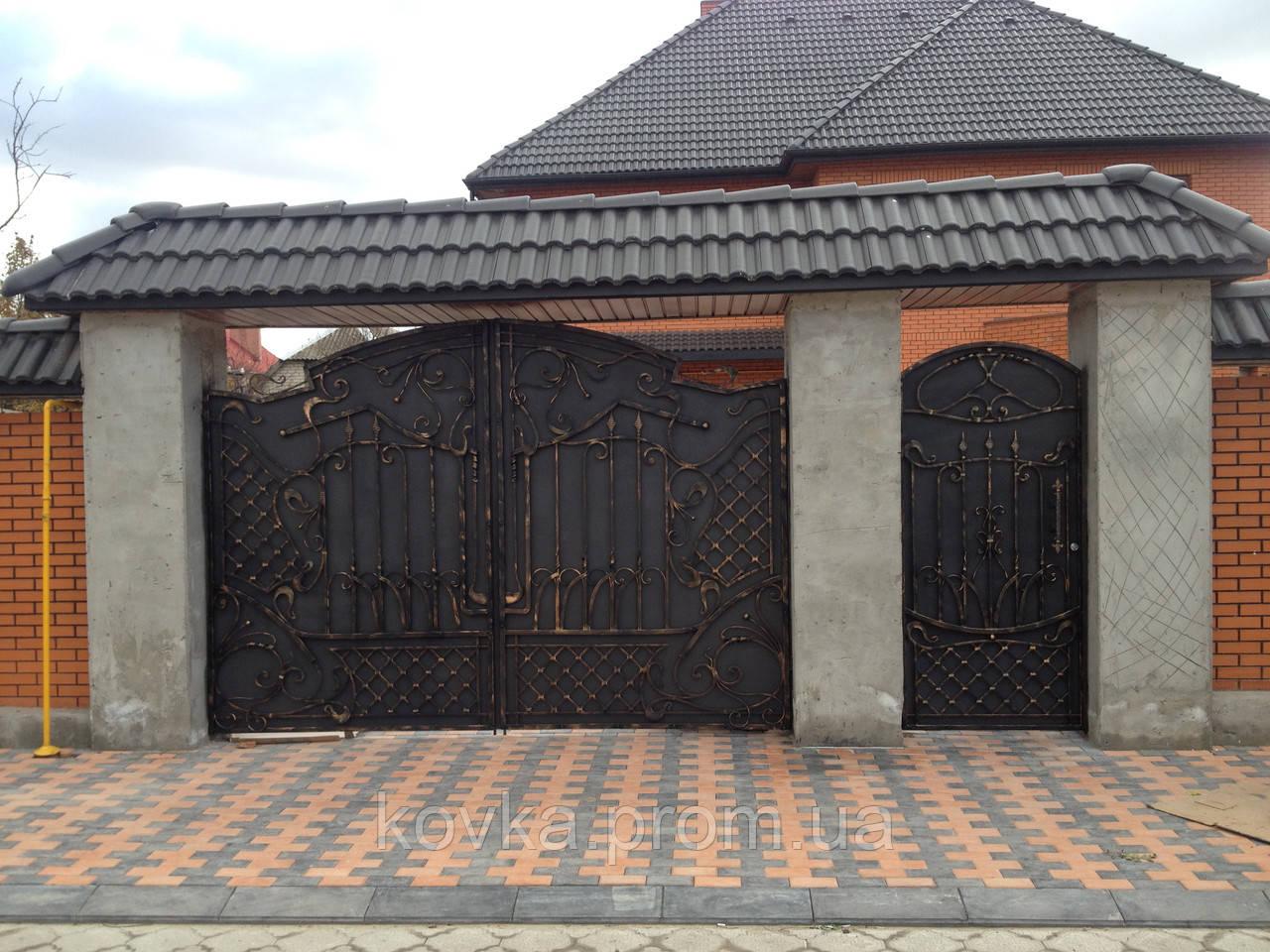 Кованые въездные ворота с калиткой, код: 01072