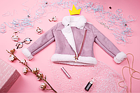 Дубленка для девочки розовая.