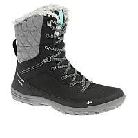 Ботинки женские, сапоги зимние високие Quechua ARPENAZ 100 HIGH черние