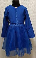 Комплект платье+болеро детское Пион электрик гипюр+евросетка 104, 110, 116, 122см