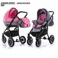 Универсальная коляска Adamex Jogger Sport серая+розовая 04М