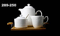 "Набор Чайный ""Naturel"" 1 Чайник 950мл + 1 Молочник 275мл +1 Сахарница 325мл + 1 Ложка + 1 Бамбуковый Поднос"