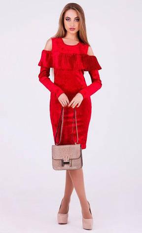 Женское платье Вика велюр цвет красный размер 42, 44, 46, 48, фото 2