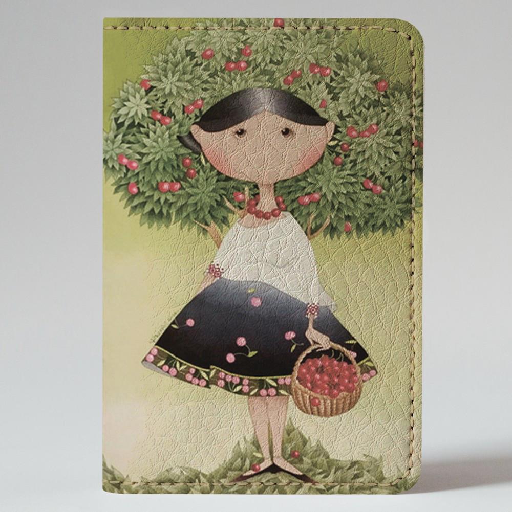 Обложка на автодокументы Fisher Gifts v.1.0. 122 Девушка с вишнями (эко-кожа)
