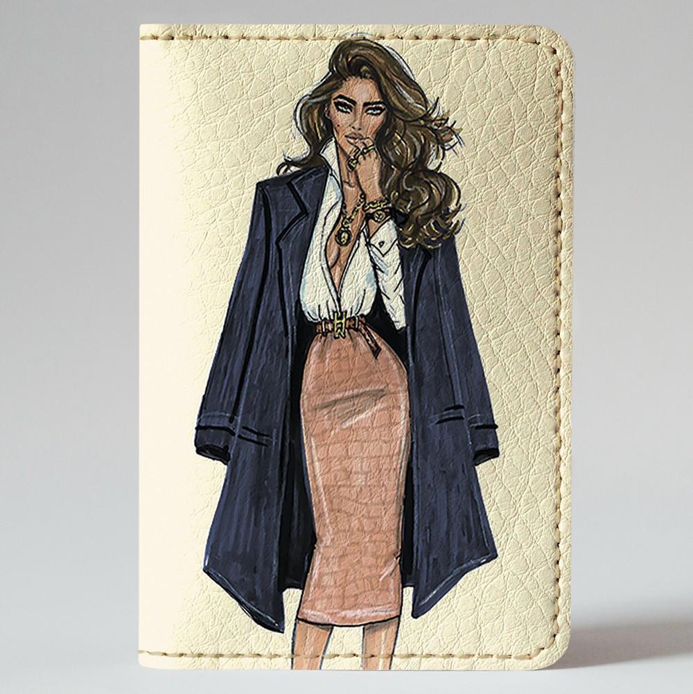 Обложка на автодокументы Fisher Gifts v.1.0. 160 Девушка VOGUE 12 (эко-кожа)