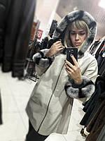Двусторонняя удлиненная кожаная куртка с капюшоном и натуральным мехом
