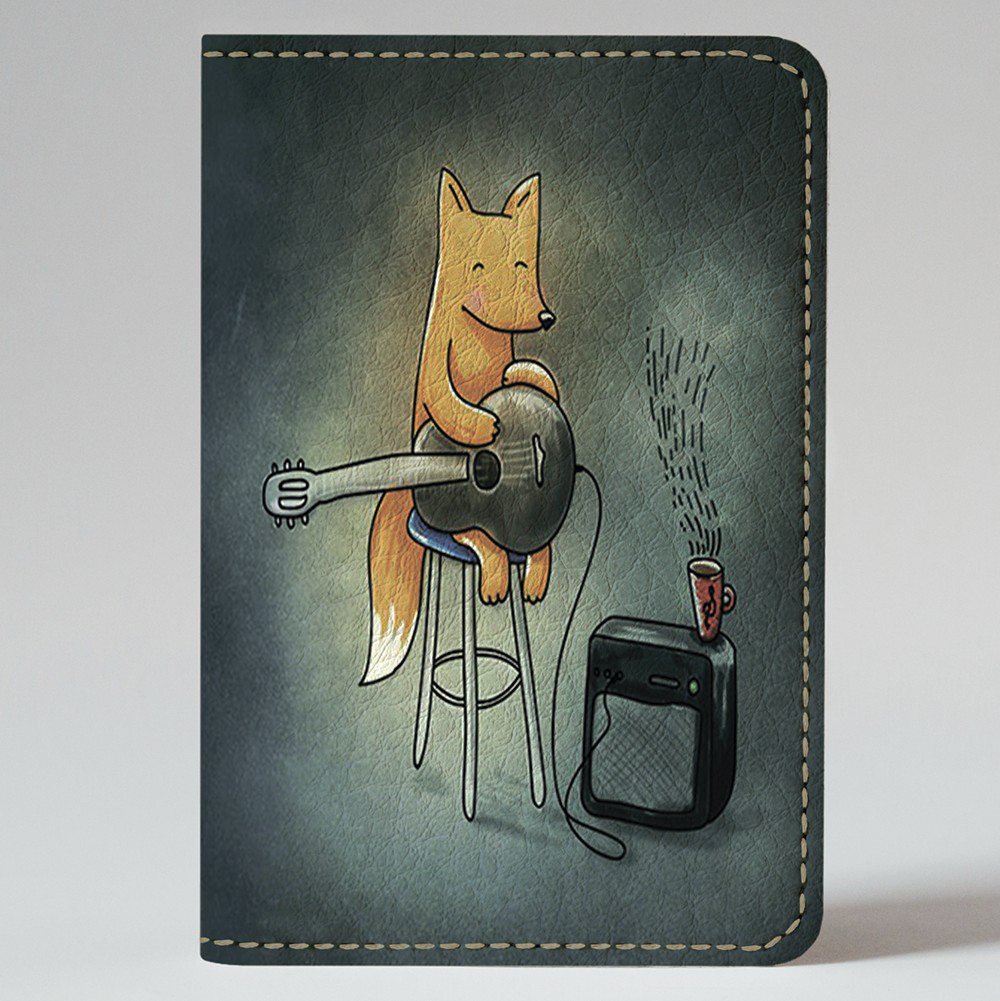 Обложка на автодокументы v.1.0. Fisher Gifts 180 Лисичка с гитарой (эко-кожа)