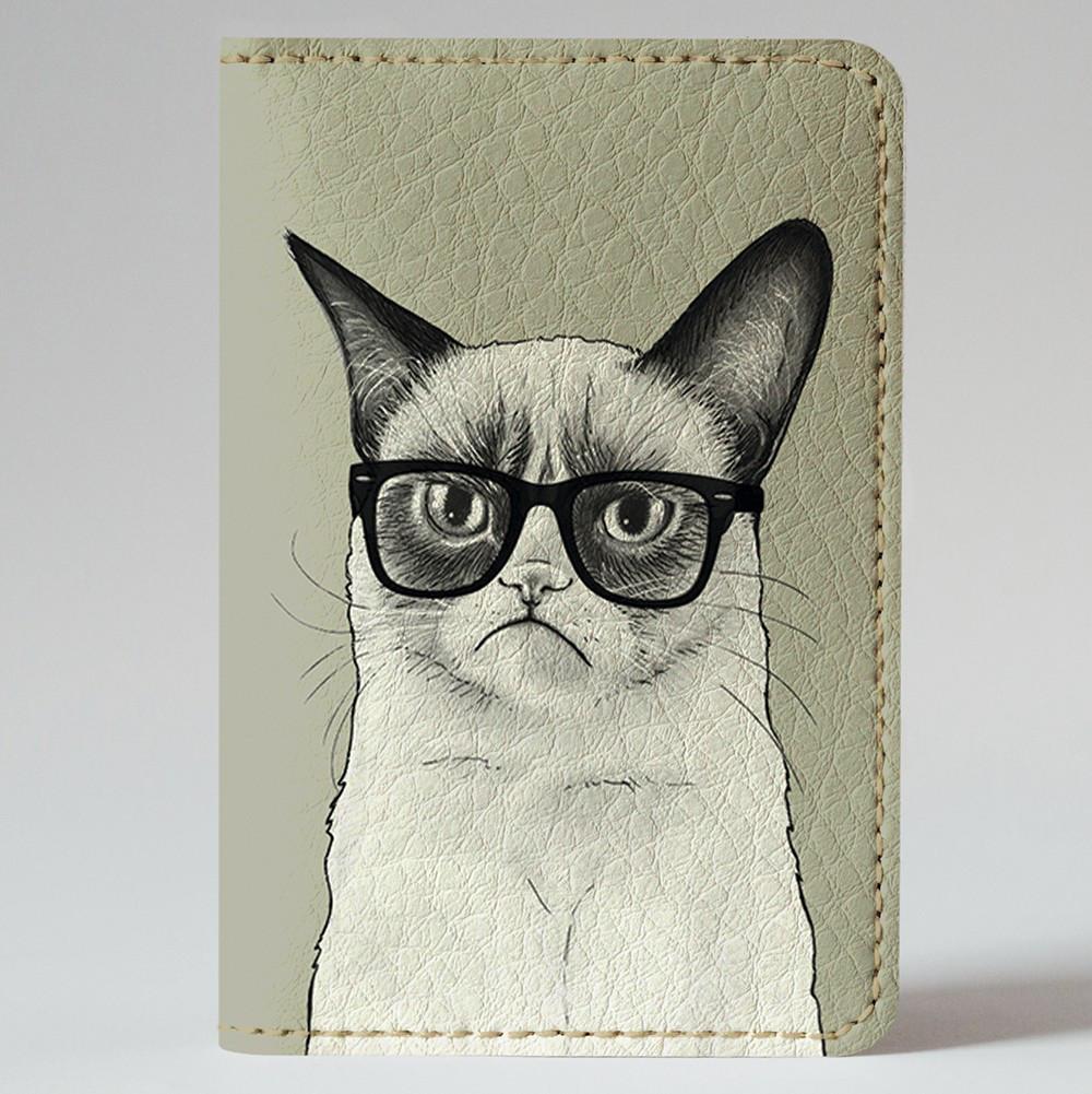 Обложка на автодокументы 1.0 Fisher Gifts 191 Унылый кот (эко-кожа)