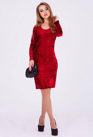 Эффектное облегающея женское платье Виола велюр цвет бордовый  размер  44, 46, фото 2