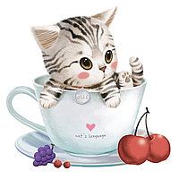 """Картина раскраска по номерам """"Котик в чашке"""" для взрослых и детей"""
