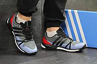 Мужские кроссовки Adidas Terrex Boost, серые с красным / кроссовки мужские Адидас Терекс Буст, пресс кожа
