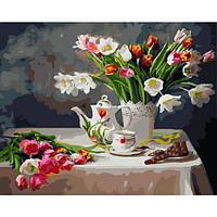 """Картина раскраска по номерам """"Весенний натюрморт"""" для взрослых и детей"""